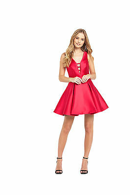 Samantha Faiers Bonded Satin Skater Dress in Red Size 12
