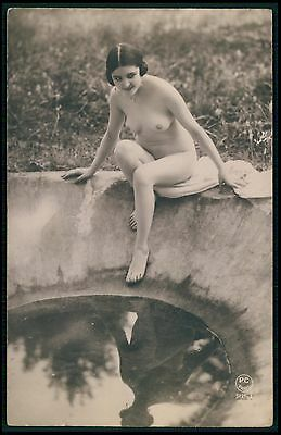 French nude woman Flapper jumping to water pond original c1920s photo postcard