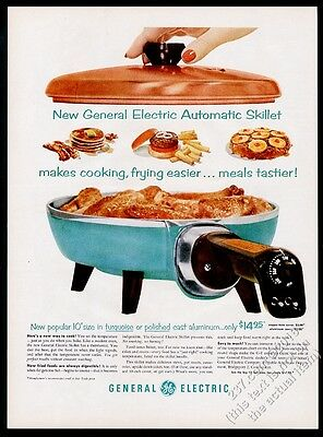 1956 General Electric blue Electric Automatic Skillet photo vintage print ad