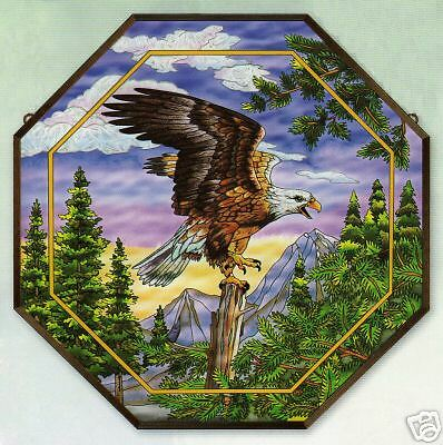 """Bald Eagle * Soaring Forest Nature 22"""" Octagon Stained Glass Art Panel"""