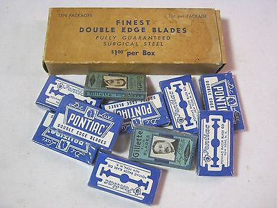 De Luxe Pontiac Double Edge & Gillette Vintage Razor Blades Box of 10 Sealed! T*