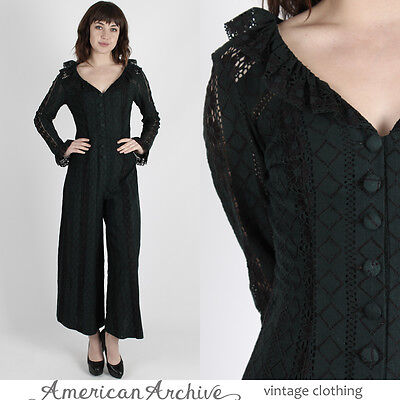 Vintage 60s Mod Lace Jumpsuit Sheer Floral Bell Bottom Palazzo Boho Playsuit S