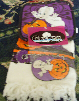 NWT Halloween kitchen towel pot holder set Casper the Friendly Ghost magnet too!