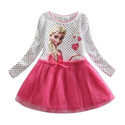 Kids Girl Christmas Party Outfit Dress Frozen ELSA Flower Girls Dresses AGE 7-8Y