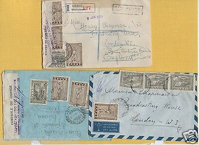 Greece 1940s/50s 3 Covers by AIR MAIL to BBC LONDON Including CONTROLE DU CHANGE