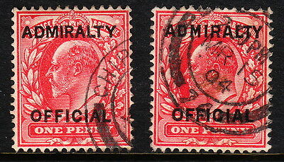 Great Britain — Scott O73,o79 — Admiralty Official (2 Types) — Used — Scv $31.00