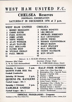 WEST HAM UNITED Res  v  CHELSEA Res  ( Comb )  1974/5.