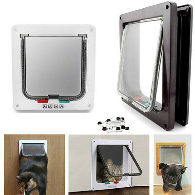 4 Way Pet Cat Dog Flap Door Supply Kitten Lockable Safe Gate w Telescoping Frame