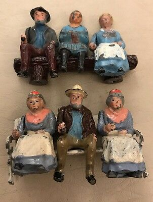 Brittons Six Old Lead Figures with A Bench And a Seat