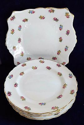 7 Tuscan china floral Plant pattern plates ##BLA70BS