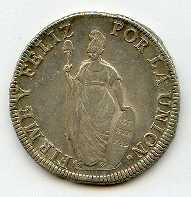Peru 1832-Mm Issue 8 Reales,nice Toned+Mint Luster Choice Au.