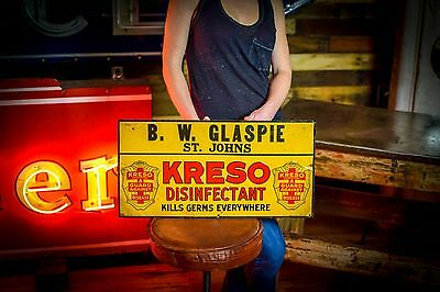 KRESO DISINFECTANT KILLS GERMS antique TIN SIGN General Store Livestock Horse