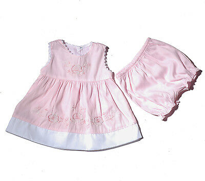 New Baby Girls Pink Floral Party Dress with Bloomers 9-12 Months