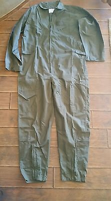 Military FLIGHT SUIT Olive Drab Green COVERALLS Flyers USAF Army Mens Large