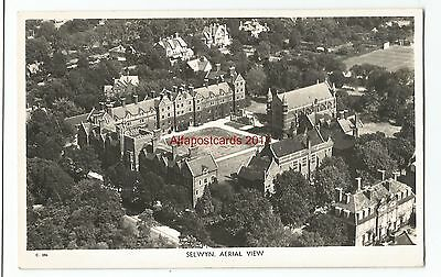 Cambridge Selwyn College Aerial View Real Photo Vintage Postcard