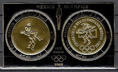 / Manama, Mi cat. 841 & 843, BL165 A. Munich Olympics Gold Foil s/sheet.