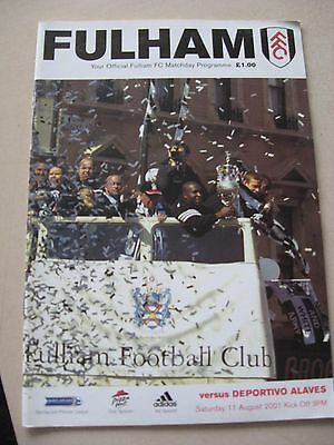 11.8.2001 Fulham v Deportivo Alaves Friendly