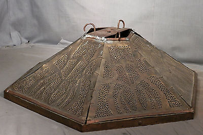 Antique Brass Copper Tooled Punched Chandelier lamp Shade Arts Crafts Chicago