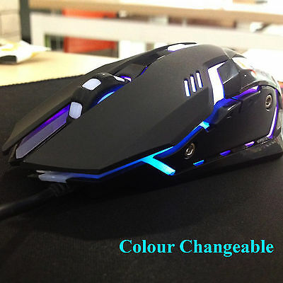 Quality ARES M1 2400 DPI 7 Colors Breathing LED PC Laptop USB Wired Gaming Mouse