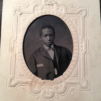 Antique African American Young Henry Bell Circa 1866 Tintype Photo Signed