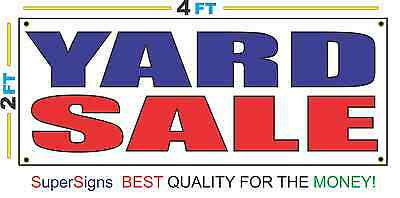 2x4 YARD SALE Banner Sign Red White & Blue NEW Discount Size & Price