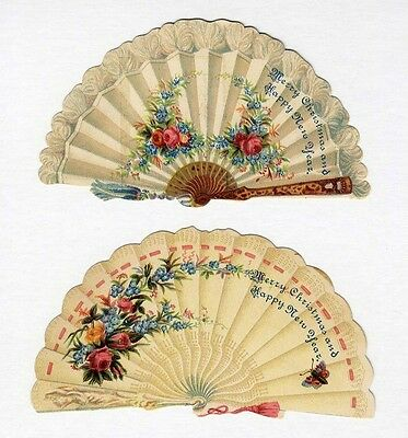 LADIES FANS - 2 Paper Victorian Die Cuts with Happy New Year Message & Flowers