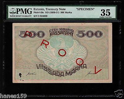 ESTONIA (P49s) 500 Marka ND(1919) PMG 35 Choice VF SPECIMEN