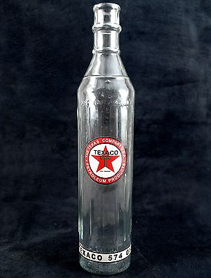 "Texaco T Motor Oil Clear 15"" Glass Bottle ~ 1 Quart ~ Fill To Line & Arrow ~"
