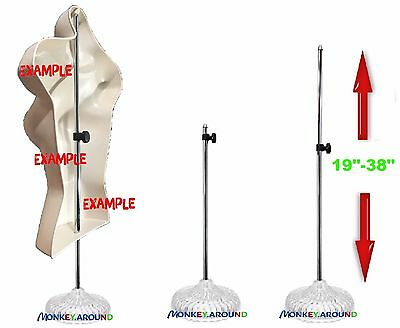 "Adjustable Metal Pole Stand 19""-38"" Display Hanging Mannequin Body Torso Form"