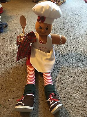 """Awesome 23"""" long Gingerbread Master Chef Sitting plush figure decor Christmas"""