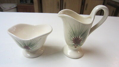 Vintage Loveland Pottery Pinecone / Pine Cone Creamer & Sugar Set, Colorado