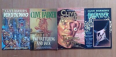 4 x CLIVE BARKER GRAPHIC NOVELS BOOK OF DAMNED, HELLRAISER, TAPPING VEIN ALL FN.