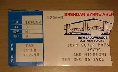1981 Ac/dc Meadowlnd New Jersey Concert Ticket Stub For Those About To Rock Tour