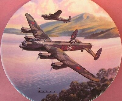 Royal Worcester Prelude: Low Over The Lake Lancaster Bomber Plate The Dambusters