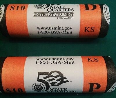 2005 P and D Mint Wrapped Rolls Kansas State Quarters Nice Fresh Wrappers