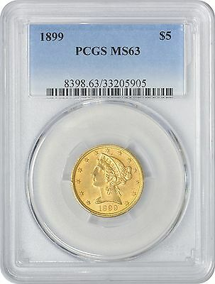 1899 $5 Five Dollar Gold MS63 PCGS Liberty Mint State 63