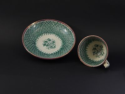 Small Antique Staffordshire Green Transferware Scottish Thistle Cup & Saucer