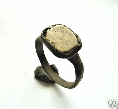 Medieval bronze ring with glass insert.  (173)