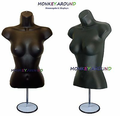 Female Mannequin Body Dress Black Form + Stand & Hanger, Clothing Display Shirts
