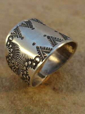 Old Style Navajo Sterling Silver Stamped Cigar Band Ring  sz 10 1/2