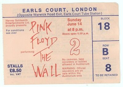 Rare PINK FLOYD 6/14/81 London England The Wall Earls Court Concert Ticket Stub!