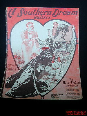 Antique SHEET MUSIC A Southern Dream 1905 Piano Waltzes Victorian -