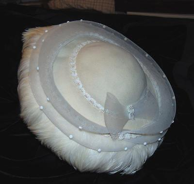 Vintage DEBORAH Hat Off White Feathers 100% Wool Beads Sequins Netting