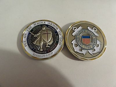 Challenge Coin United States Coast Guard Uscg Put On The Whole Armor Of God Nice
