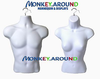 LOT 2 Mannequin Male Female White Dress Body Torso Form +2 HOOK Display Clothing