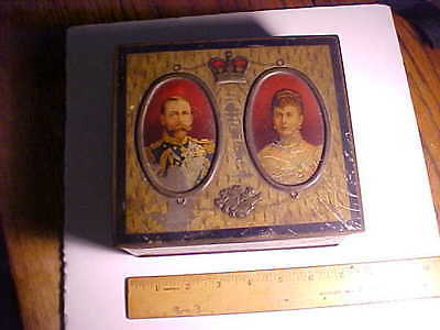 1911 Antique English Biscuit Tin Coronation Of George V & Queen Mary Vg+