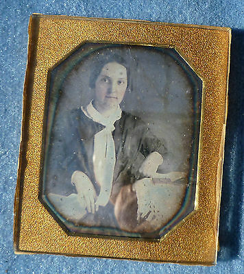 Daguerreotype Photograph Young Woman at Table
