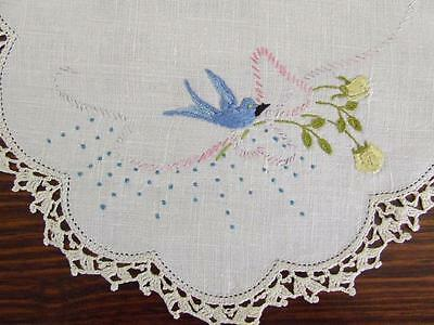 Hand Embroidered Centre Doily Little Blue Birds Ribbons & Bows Crocheted Edging