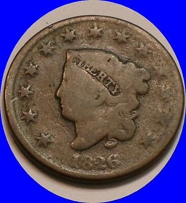 1826 Coronet Head Large Cent  fairly Strong DETAIL