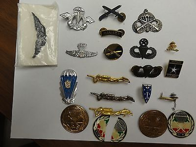 Military Army Lot Set Of Diff Assorted Metal Insignia Jump Wings Ranger Older #4